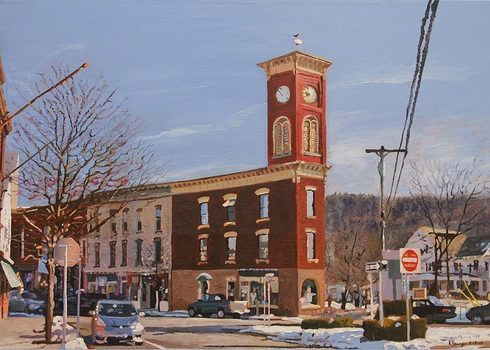 Cityscape Greeting Card featuring the painting Chatham Clock Tower by Kenneth Young