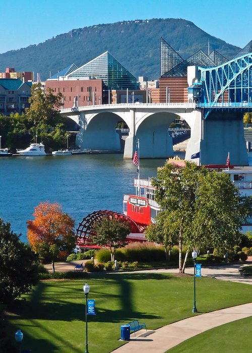 Market Street Bridge Greeting Card featuring the photograph Chattanooga Landmarks by Tom and Pat Cory