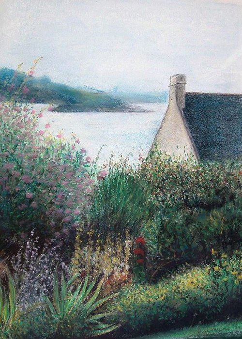 Landscape Greeting Card featuring the painting Chausey by Muriel Dolemieux