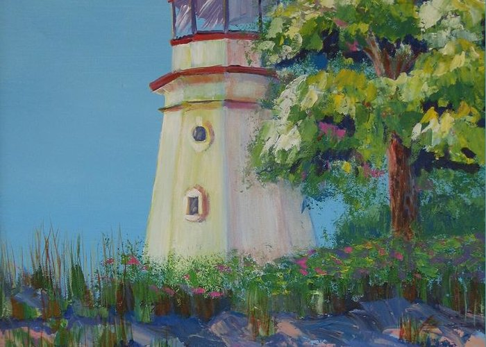 Lighthouse Greeting Card featuring the painting Cheboygan Lighthouse by Art Nomad Sandra Hansen