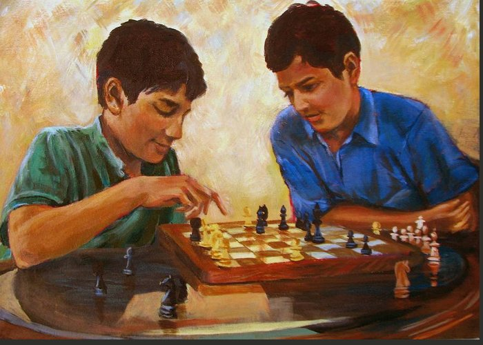 Chess Greeting Card featuring the painting Check by Art Nomad Sandra Hansen
