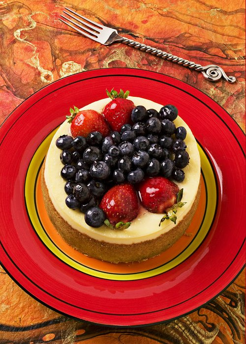 Fruit Greeting Card featuring the photograph Cheesecake On Red Plate by Garry Gay