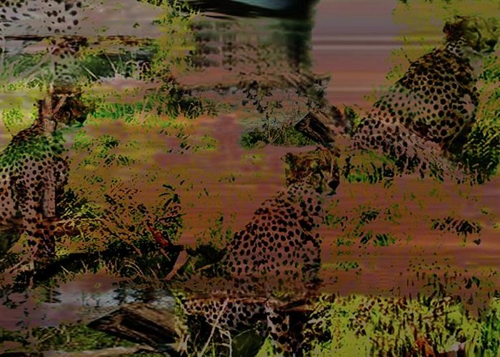 Wildlife Greeting Card featuring the digital art Cheetah by Carole Guillen