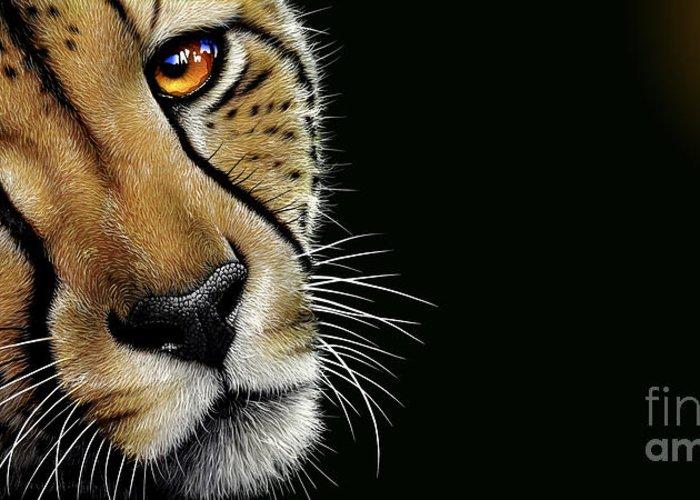 Cheetah Greeting Card featuring the painting Cheetah by Jurek Zamoyski