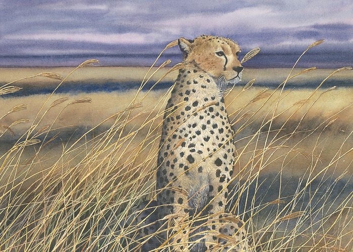 Wildlife Greeting Card featuring the painting Cheetah by Sharon Farber