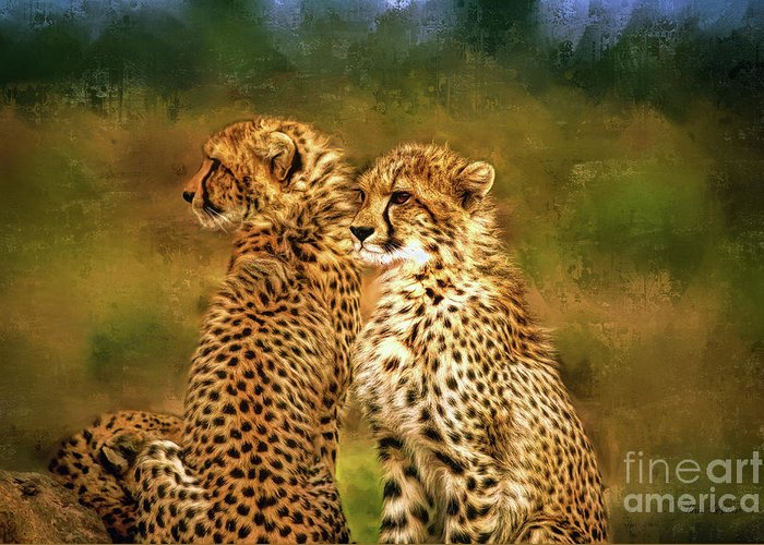 Cheetah Greeting Card featuring the digital art Cheetah Siblings by Tina LeCour