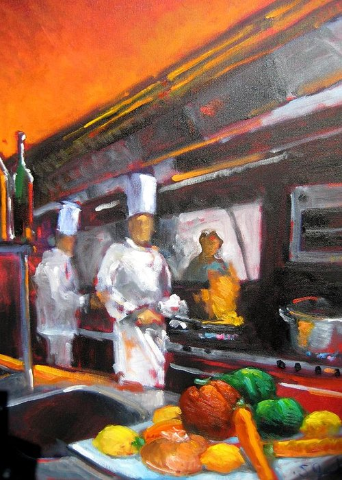 Chefs Greeting Card featuring the painting Chef by Susan Jenkins