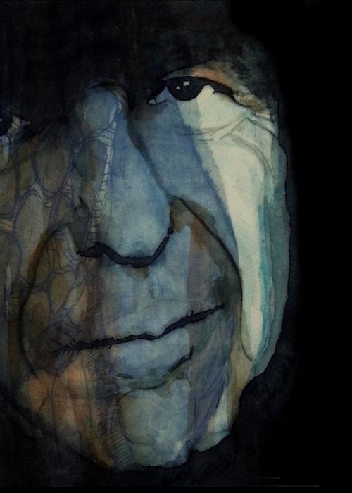 Leonard Cohen Greeting Card featuring the mixed media Chelsea Hotel - Leonard Cohen by Paul Lovering
