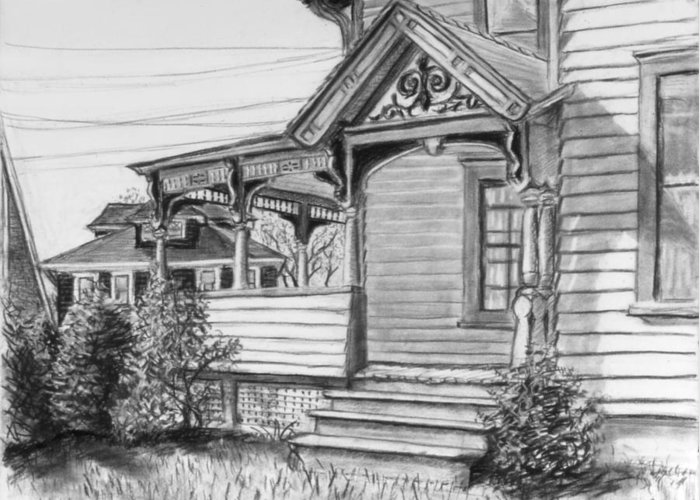 House Greeting Card featuring the drawing Chenango Street Binghamton Ny by John Clum
