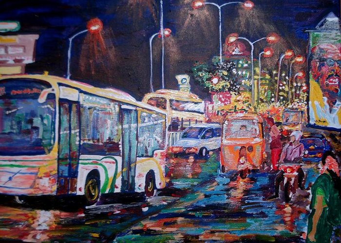 Chennai Greeting Card featuring the painting Chennai Traffic by Narayan Iyer