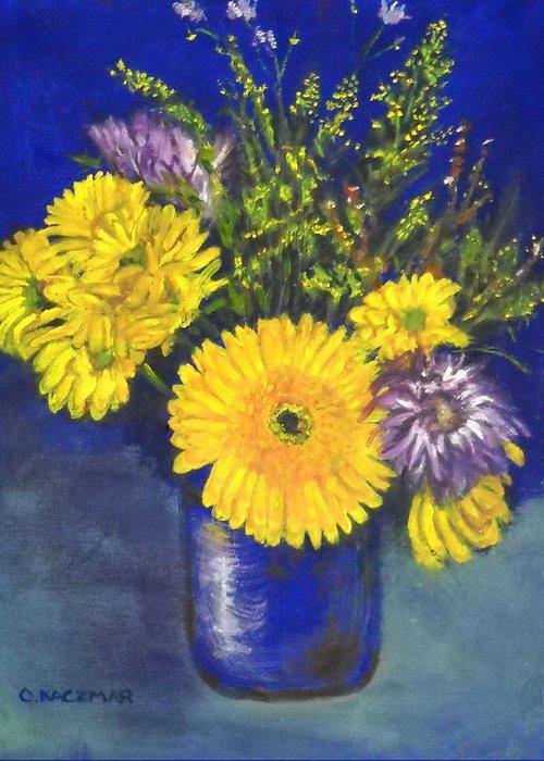Flower Still Life Greeting Card featuring the painting Cheris Flowers by Olga Kaczmar