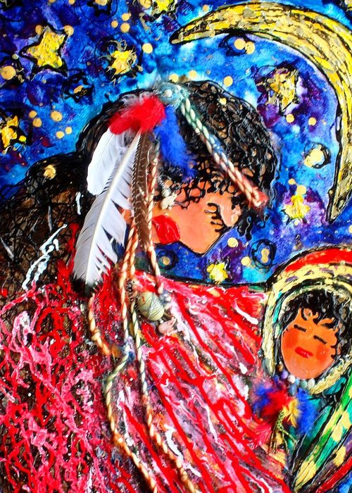 Fine Art Greeting Card featuring the painting Cherokee Trail Of Tears Mother And Child by Laura Grisham