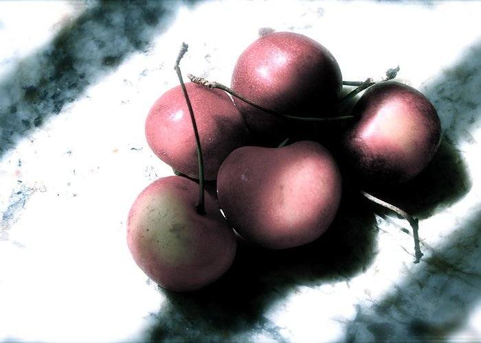 Cherries Greeting Card featuring the photograph Cherries In The Light by Sherry Klander