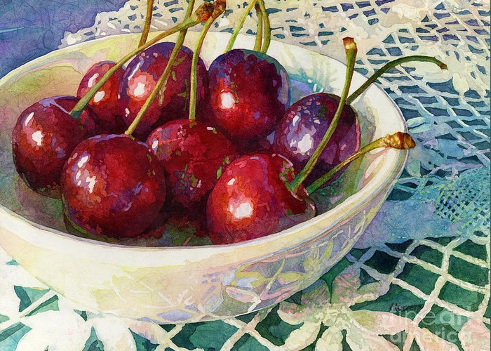 Cherry Greeting Card featuring the painting Cherries Jubilee by Hailey E Herrera