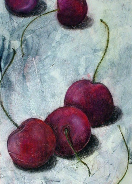 Cherries Greeting Card featuring the painting Cherries Jubilee by Sandy Clift