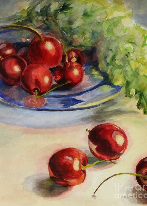 Cherries Greeting Card featuring the painting Cherries by Lori McCray