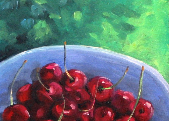 Art Greeting Card featuring the painting Cherries On A Blue Plate by Richard T Pranke