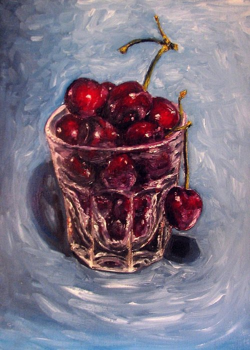 Red Greeting Card featuring the painting Cherries Original Oil Painting by Natalja Picugina