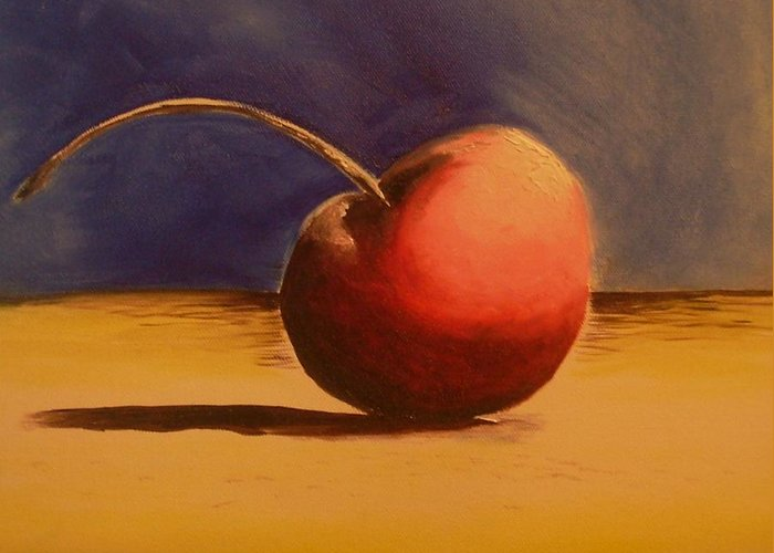 Cherry Red Greeting Card featuring the painting Cherry 41a by Ruben Barbosa
