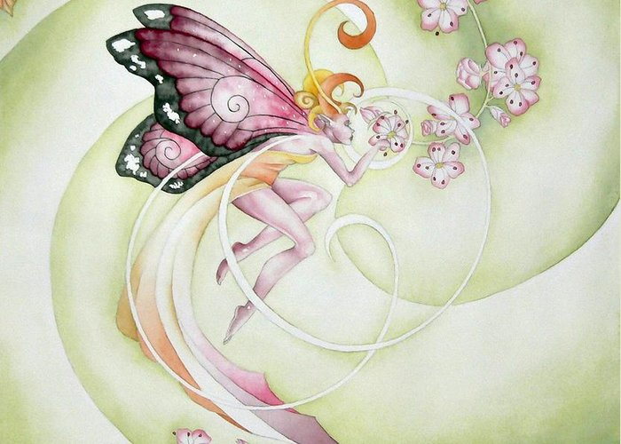 Georgia Artist Ora Moon Greeting Card featuring the painting Cherry Blossom Faery by Ora Moon