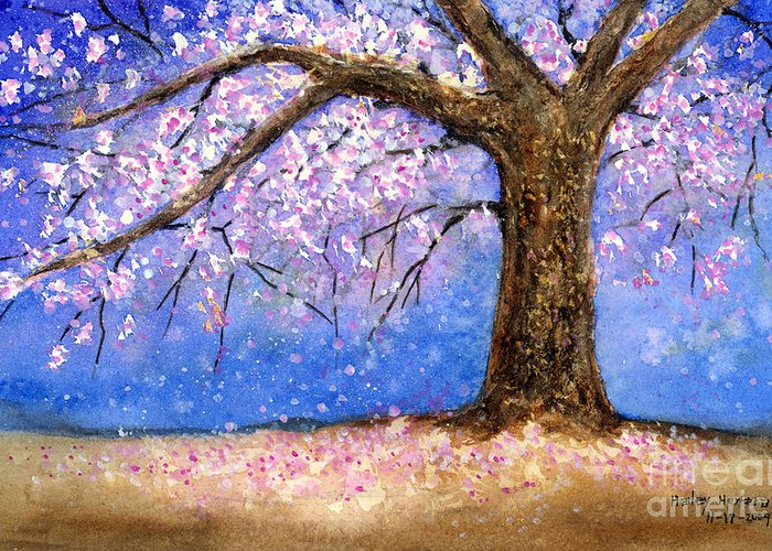 Cherry Blossom Greeting Card featuring the painting Cherry Blossom by Hailey E Herrera
