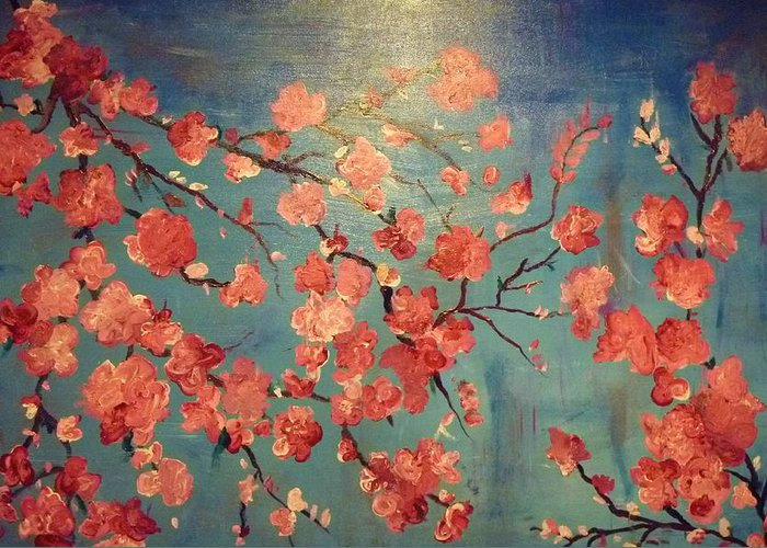 Flowers Greeting Card featuring the painting Cherry Blossoms by Anza Arain
