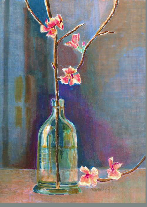 Flower Greeting Card featuring the painting Cherry Blossoms In A Bottle by Arline Wagner