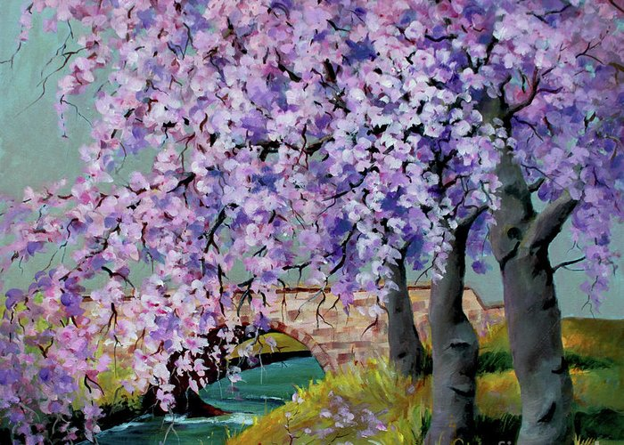 Landscape Greeting Card featuring the painting Cherry Blossoms by Marta Styk