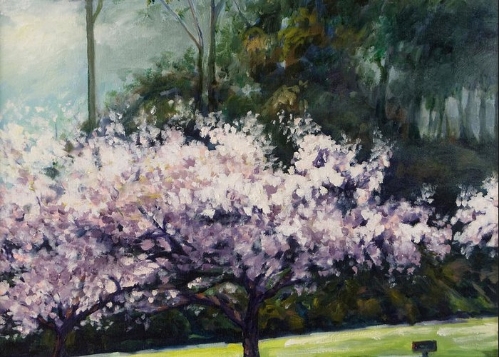 Trees Greeting Card featuring the painting Cherry Blossoms by Rick Nederlof