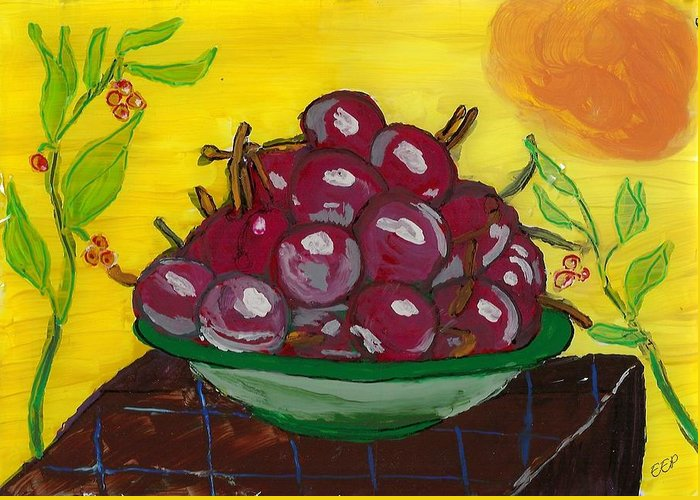 Cherry Bowl Greeting Card featuring the painting Cherry Bowl by Enrico Pischiera