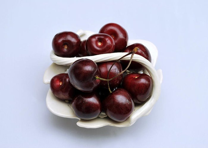 Still Life Greeting Card featuring the photograph Cherry Dish by Terence Davis