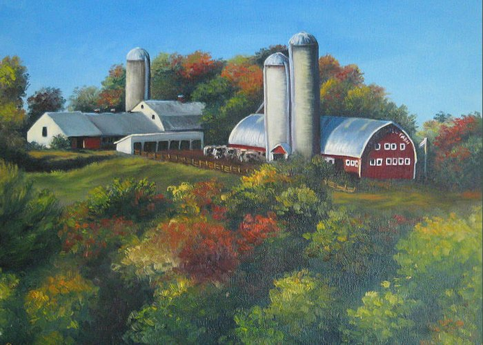 Landscape Greeting Card featuring the painting Cherry Hill Farm Lunenburg Ma by Oksana Zotkina