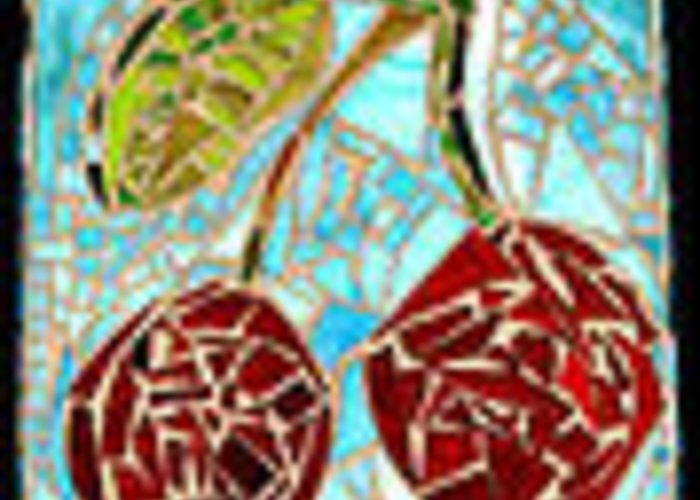 Cherry Greeting Card featuring the glass art Cherry Sky by Diane Morizio