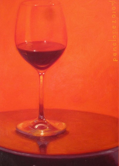Wine Painting Greeting Card featuring the painting Cherry Spice by Penelope Moore
