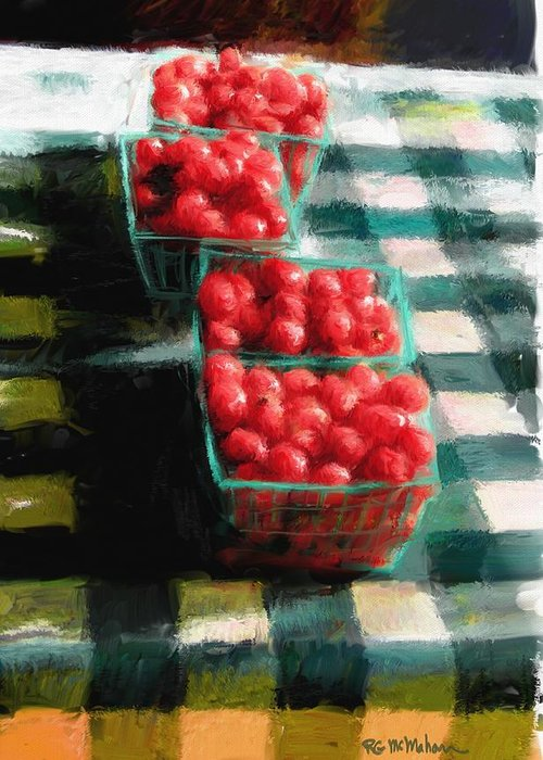 Cherry Tomatoes Greeting Card featuring the digital art Cherry Tomato Basket by RG McMahon