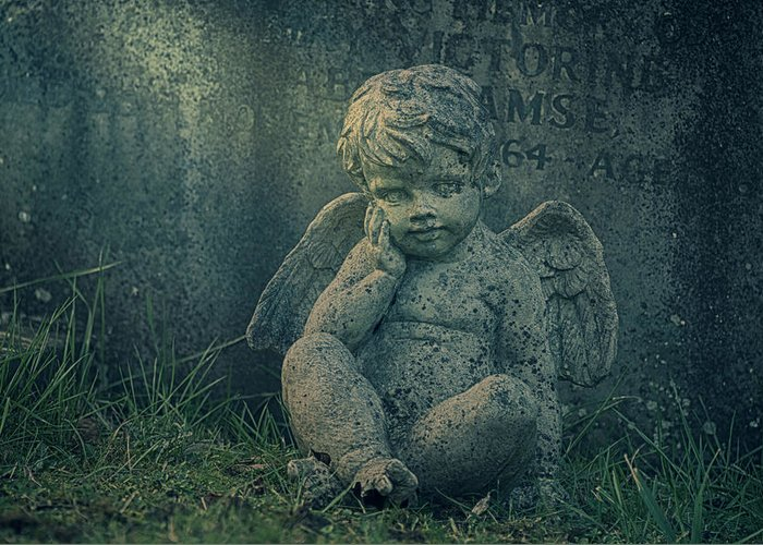 Anglican Greeting Card featuring the photograph Cherub Lost In Thoughts by Monika Tymanowska