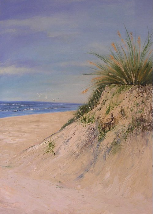 Dune Greeting Card featuring the painting Chesapeake Bay Dune by Barbara Harper