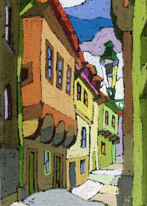 Pastel Greeting Card featuring the painting Chesky Krumlov Street Nove Mesto by Yuriy Shevchuk