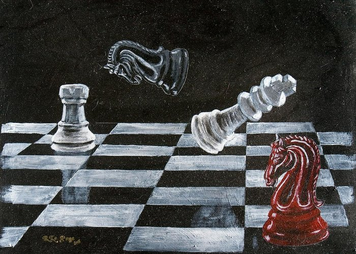 Chess Greeting Card featuring the painting Chess by Richard Le Page