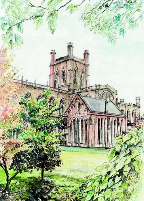 Chester Greeting Card featuring the painting Chester Cathedral England by Morgan Fitzsimons