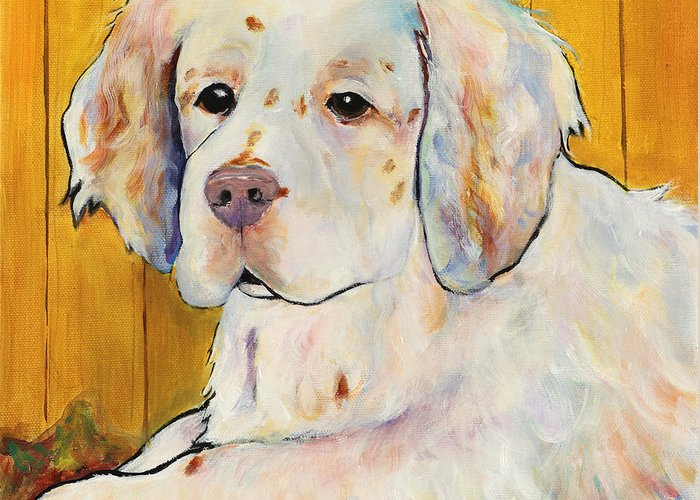 Dog Portrait Greeting Card featuring the painting Chester by Pat Saunders-White