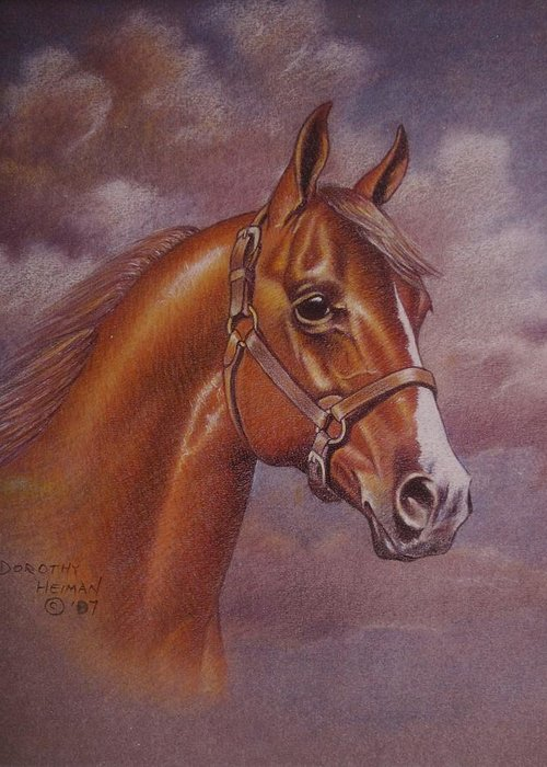 Greeting Card featuring the painting Chestnut Quarter Horse by Dorothy Coatsworth