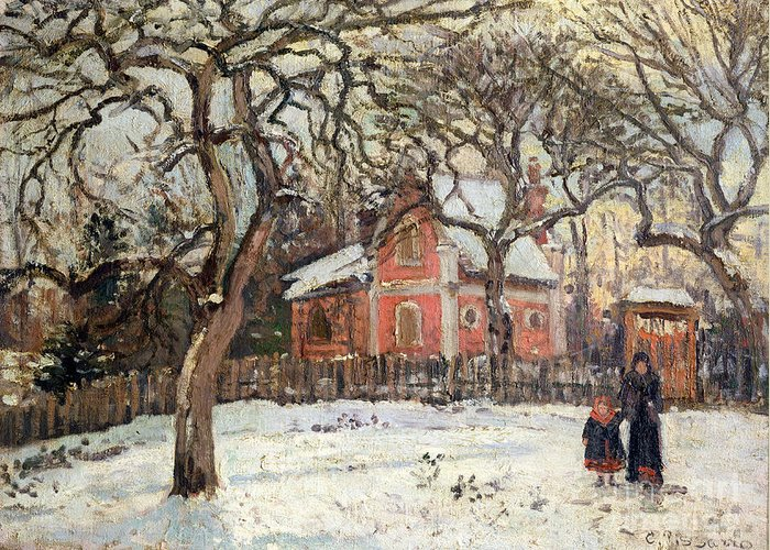 Chestnut Greeting Card featuring the painting Chestnut Trees At Louveciennes by Camille Pissarro