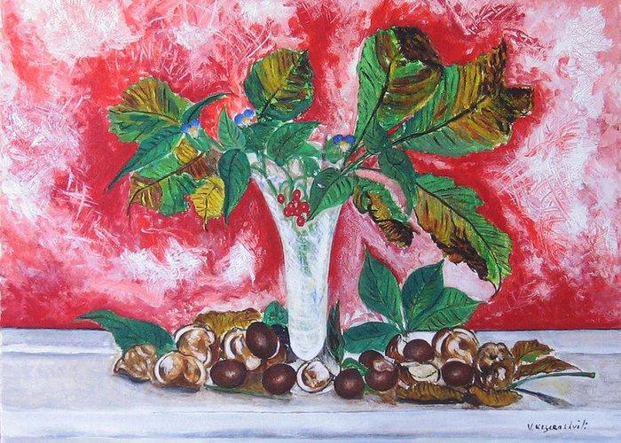 Still Life Greeting Card featuring the painting Chestnuts by Vladimir Kezerashvili
