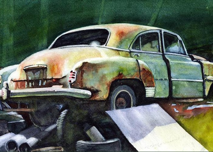 Chev Greeting Card featuring the painting Chev At Rest by Ron Morrison