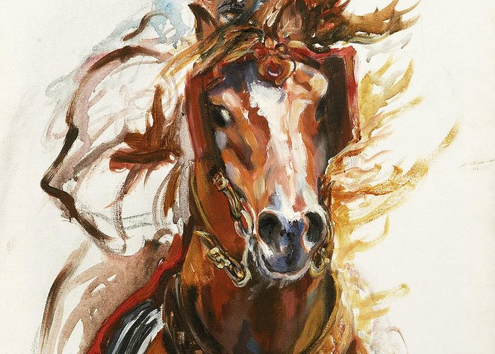 Horse Greeting Card featuring the painting Cheval Arabe Monte En Action by Josette SPIAGGIA