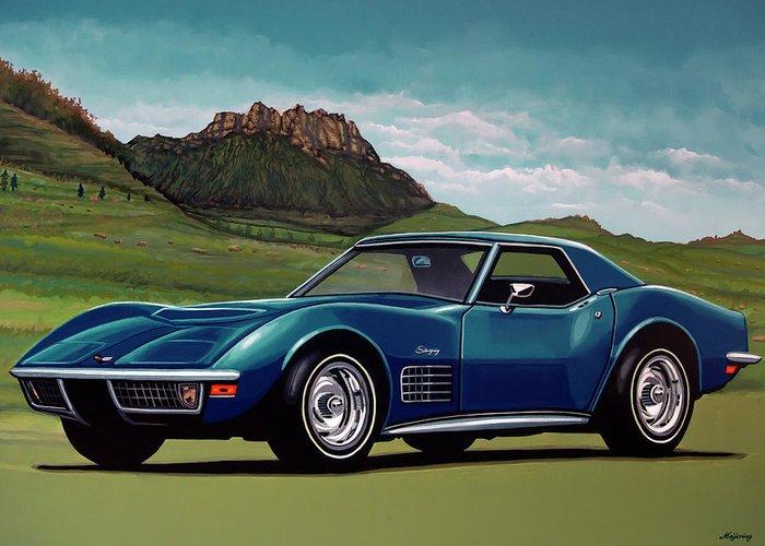 Chevrolet Corvette Stingray Greeting Card featuring the painting Chevrolet Corvette Stingray 1971 Painting by Paul Meijering