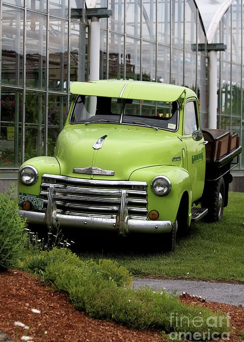 Taken In Vermont At The Nursery I Used To Go To. Greeting Card featuring the photograph Chevrolet Old by Deborah Benoit