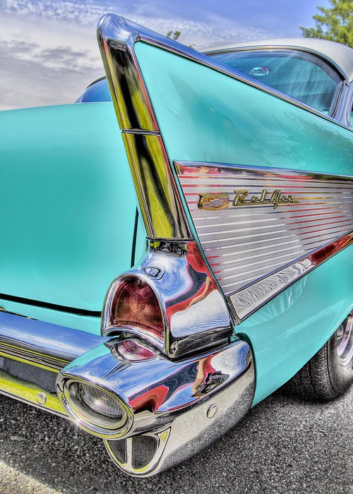 Chevy Greeting Card featuring the photograph Chevy Bel Air by Naman Imagery
