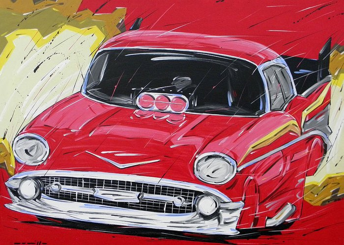 Cars Greeting Card featuring the painting Chevy Drag by Roberto Muccilo